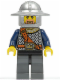 Minifig No: cas381  Name: Fantasy Era - Crown Knight Scale Mail with Chest Strap, Helmet with Broad Brim, Brown Beard and Sideburns