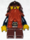 Minifig No: cas390  Name: Fantasy Era - Dwarf, Dark Orange Beard, Copper Helmet with Studded Bands, Dark Blue Arms