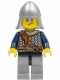 Minifig No: cas417  Name: Fantasy Era - Crown Knight Scale Mail with Chest Strap, Helmet with Neck Protector, Crooked Smile