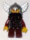 Minifig No: cas429  Name: Fantasy Era - Dwarf, Dark Brown Beard, Metallic Silver Helmet with Wings, Dark Red Arms