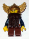 Minifig No: cas430  Name: Fantasy Era - Dwarf, Dark Brown Beard, Metallic Gold Helmet with Wings, Dark Blue Arms, Dual Sided Head
