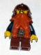 Minifig No: cas431  Name: Fantasy Era - Dwarf, Dark Orange Beard, Copper Helmet with Studded Bands, Dark Blue Arms, Smirk and Stubble Beard