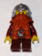 Minifig No: cas432  Name: Fantasy Era - Dwarf, Dark Orange Beard, Metallic Silver Helmet with Studded Bands, Dark Red Arms