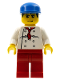 Minifig No: chef013  Name: Chef - White Torso with 8 Buttons, Red Legs, Blue Cap