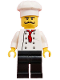 Minifig No: chef025  Name: Chef - Black Legs, Moustache Curly Long, 'LEGO House Home of the Brick' Print on Back