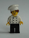 Minifig No: chef026  Name: Chef - Black Legs, Open Mouth Smile, Hair in Bun, 'LEGO HOUSE Home of the Brick' on Back, Female