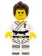 Minifig No: col262  Name: Warrior - Male, Karate Dress with Black Belt, Dark Brown Hair, Scarred Eye