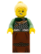 Minifig No: col263  Name: Warrior - Female with Scale Mail, Reddish Brown Skirt, Bright Light Yellow Hair, Silver Lips