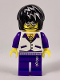 Minifig No: col267  Name: Musician - Male, White Vest with Dark Purple Open Shirt, Dark Purple Pants with Silver Trim