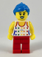 Minifig No: col268  Name: Musician - Female, White Top with Rainbow Stars, Red Legs, Dark Azure Ponytail and Swept Sideways Fringe, Blue Lips