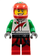 Minifig No: col270  Name: Race Car Driver, White Octan Race Suit with Octan Logo, Black Leg Straps with Carabiner