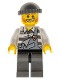 Minifig No: col283  Name: Police - Jail Prisoner Torn Overalls over Prison Stripes, Dark Bluish Gray Legs and Knit Cap