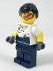 Minifig No: col310  Name: City Jungle Mechanic Female - Black Ponytail, Orange Goggles, White T-Shirt with Oil Stains, Dark Blue Legs
