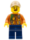 Minifig No: col311  Name: City Jungle Explorer - Dark Orange Jacket with Pouches, Dark Blue Legs, Dark Tan Cap with Hole, Reddish Brown Moustache