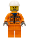 Minifig No: con001  Name: Construction Worker - Orange Zipper Jacket, Safety Stripes, Orange Legs, White Construction Helmet