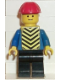 Minifig No: con004  Name: Plain Blue Torso with Blue Arms, Black Legs, Red Construction Helmet, Yellow Chevron Vest (Stickered)