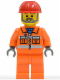 Minifig No: con008  Name: Construction Worker - Orange Zipper, Safety Stripes, Orange Arms, Orange Legs, Red Construction Helmet, Gray Angular Beard