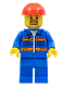 Minifig No: con009  Name: Blue Jacket with Pockets and Orange Stripes, Blue Legs, Red Construction Helmet, Brown Moustache and Goatee