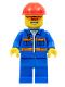Minifig No: con010  Name: Blue Jacket with Pockets and Orange Stripes, Blue Legs, Red Construction Helmet, Orange Sunglasses