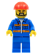 Minifig No: con012  Name: Blue Jacket with Pockets and Orange Stripes, Blue Legs, Red Construction Helmet, Black Angular Beard