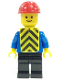 Minifig No: con013  Name: Plain Blue Torso with Blue Arms, Black Legs, Red Construction Helmet, Yellow Chevron Vest (Printed)