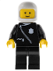 Minifig No: cop003  Name: Police - Zipper with Badge, Black Legs, White Classic Helmet