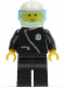 Minifig No: cop004  Name: Police - Zipper with Badge, Black Legs, White Helmet, Trans-Light Blue Visor
