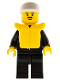 Minifig No: cop007  Name: Police - Suit with Sheriff Star, Black Legs, White Cap, Life Jacket