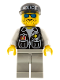 Minifig No: cop008  Name: Police - Sheriff Star and 2 Pockets, Light Gray Legs, White Arms, Black Cap with Police Pattern