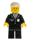 Minifig No: cop012  Name: Police - Suit with 4 Buttons, Black Legs, White Cap