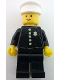 Minifig No: cop014s  Name: Police - Torso Sticker with 4 Buttons and Badge, Black Legs, White Hat