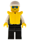Minifig No: cop020  Name: Police - Sheriff Star and 2 Pockets, Black Legs, White Arms, White Cap, Life Jacket, Blue Sunglasses