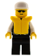 Minifig No: cop022  Name: Police - Sheriff Star and 2 Pockets, Black Legs, White Arms, White Cap, Life Jacket, Black Sunglasses