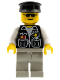 Minifig No: cop028  Name: Police - Sheriff Star and 2 Pockets, Light Gray Legs, White Arms, Black Hat