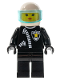 Minifig No: cop029  Name: Police - Zipper with Sheriff Star, White Helmet, Trans-Light Blue Visor, Female