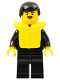 Minifig No: cop032  Name: Police - Suit with Sheriff Star, Black Legs, Black Male Hair, Life Jacket