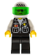 Minifig No: cop036  Name: Police - Sheriff Star and 2 Pockets, Black Legs, White Arms, White Helmet with Police Pattern, Trans-Green Visor