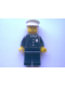 Minifig No: cop042  Name: Police - Torso Sticker with 4 Buttons, Badge, and Collar, Black Legs, White Hat