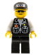 Minifig No: cop044  Name: Police - Sheriff Star and 2 Pockets, Black Legs, White Arms, Black Cap with Police Pattern, Black Sunglasses