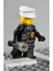 Minifig No: cop045  Name: Police - City Suit with Blue Tie and Badge, Black Legs, White Hat - with Light-Up Flashlight