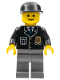 Minifig No: cop048  Name: Police - City Suit with Blue Tie and Badge, Dark Bluish Gray Legs, Black Cap