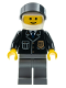 Minifig No: cop049  Name: Police - City Suit with Blue Tie and Badge, Dark Bluish Gray Legs, White Helmet, Black Visor