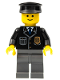 Minifig No: cop050  Name: Police - City Suit with Blue Tie and Badge, Dark Bluish Gray Legs, Black Hat