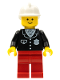 Minifig No: cop052  Name: Police - Suit with 4 Buttons, Red Legs, White Fire Helmet