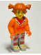 Minifig No: cre001  Name: Tina, Orange Torso, Light Gray Legs
