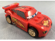 Minifig No: crs039  Name: Lightning McQueen - Piston Cup Hood, White and Gold Wheels