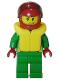 Minifig No: cty0001  Name: Octan - Green Jacket with Pockets, Smirk and Stubble Beard, Life Jacket