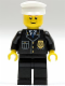 Minifig No: cty0005  Name: Police - City Suit with Blue Tie and Badge, Black Legs, White Hat, Brown Eyebrows, Thin Grin
