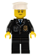 Minifig No: cty0005a  Name: Police - City Suit with Blue Tie and Badge, Black Legs, White Hat, Black Eyebrows, Thin Grin