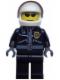 Minifig No: cty0006  Name: Police - City Leather Jacket with Gold Badge, White Helmet, Trans-Black Visor, Black Sunglasses